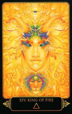 King of Fire. Dreams of Gaia Tarot by Ravynne Phelan. King of Wands Orisha, Gaia, Tarot By Cecelia, King Of Wands, Astro Tarot, Tarot Card Decks, Tarot Cards, Oracle Tarot, Visionary Art
