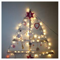 DIY Christmas tree Diy Christmas Tree, Chandelier, Ceiling Lights, Home Decor, Candelabra, Decoration Home, Room Decor, Chandeliers, Outdoor Ceiling Lights