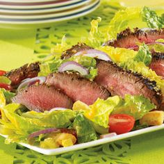 Montreal Steak Salad with Croutons, Pickles & Vinaigrette