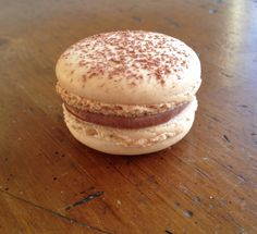 Vanilla macaron with chocolate ganache
