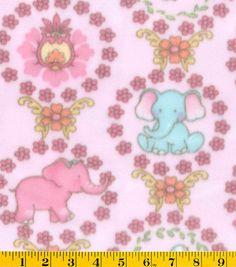 Nursery Fabric Pink Elephant With Floral Fleece