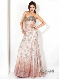 Jovani 9877 - Long, strapless evening gown for formal occasions.  From Madame Bridal.