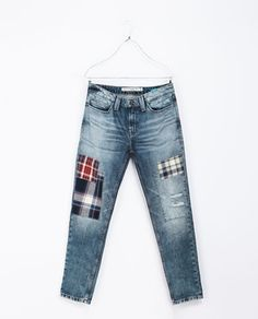 ZARA - TRF - JEANS WITH CHECKED PATCHES