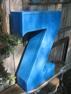 Huge Reclaimed Industrial Salvage Sapphire Blue Advertising Neon Channel Sign Letter: Very Large Capital Initial 'Z'