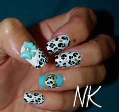 Japanese Nail Art Blue Leopard Print Bows by NailKandy on Etsy