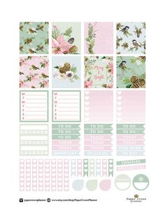 HORIZONTAL Printable Planner Stickers for use with Erin