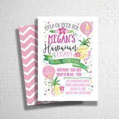 Pineapple Birthday Invitation Luau Invitation by ohbejoyfulshop