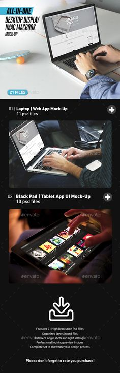 Laptop and Black iPad Web App Mock-Up Bundle All-in-One by itscroma Save money聽with our聽Responsive Display Bundles! Laptop and Black iPad Web App Mock-Up Bundle All-in-OneSpecial for website devel Web Mockup, Mockup Templates, Design Templates, Flyer Template, Display Mockup, Mockup Photoshop, App Ui, Business Card Logo, Presentation Templates