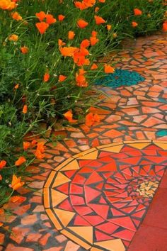 Exterior accent mosaics can add color and delight to almost any exterior floor finish. They are most easily incorporated into concrete, tiled or stone (not wood decking). I really like this.