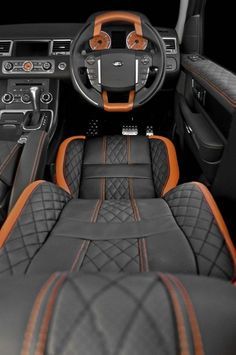 Range Rover Sport Vesuvius Editon interior- love the orange stitching!