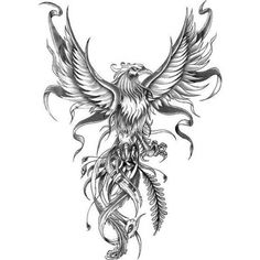 black and white phoenix drawing, tattoo designs for men, white background Phoenix Bird Tattoos, Phoenix Tattoo Design, Body Art Tattoos, Small Tattoos, Tattoos For Guys, Wing Tattoos, Bird Drawings, Tattoo Drawings, Adler Tattoo