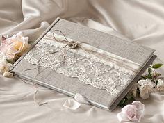 Hochzeit Gästebuch, Gästebuch, Lace, Shabby Chic natürlichen Leinen Lace