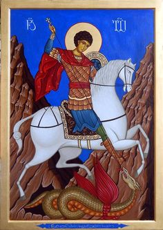Possibly an icon of The Holy Victorious Wonderworker and Great Martyr George. Religious Paintings, Religious Art, Saint George And The Dragon, Fortune Cards, Biblical Art, Byzantine Icons, Art Icon, Orthodox Icons, Saints