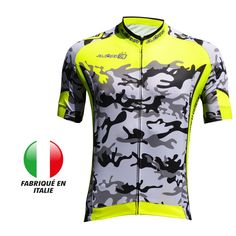 Cycling Jersey Björka CAMO Yellow Fluo/Grey - Only4Bike
