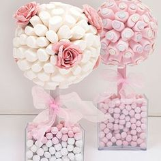 Sweet Creations: centrepieces with the ?wow factor.  Marshmallow bouquet any one?