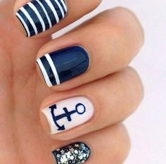 dark blue and white with strips and anchor nail art design