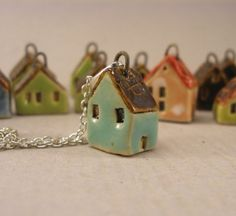 Turquoise GREEN - Tiny House Pendant in Stoneware