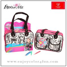 designer handbag Brand: Fashion Me  Item No: FMBA18  Material: 600D & high quality satin   Size: 24*17*8.5cm, Any size under customer's requirements  Design: we have more than 20 design about the coloring bags by us, such as flower, animal, princess,OEM is welcome  Logo: silk screen print  olor: purple, blue, yellow, green, pink and other colors under your requirements  Accessories: 4-8pcs color markers, the color is unwashable