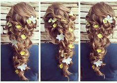 #updo #hairstyles #flowersinherhair #weddinghair