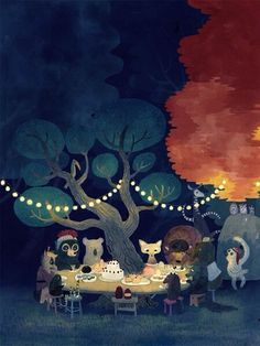 Cute forest animal painting