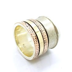 Wide silver spinner ring for men with yellow & rose gold swivel bands