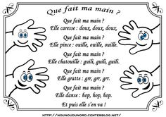 comptine que fait ma main                                                                                                                                                                                 Plus Teaching Kindergarten, Preschool, French Poems, French For Beginners, Petite Section, Second Language, Teaching French, Back To School, Alphabet