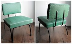 1950'S MID CENTURY ATOMIC RETRO GREEN + BLACK VINYL LOUNGE CHAIR WITH IRON HAIRPIN LEGS - SOLD