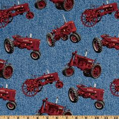 Farmall International Harvester Allover Red Tractors Blue from @fabricdotcom  Designed for Print Concepts, this cotton print fabric is perfect for quilting, apparel and home décor accents. Colors include red, grey and blue.