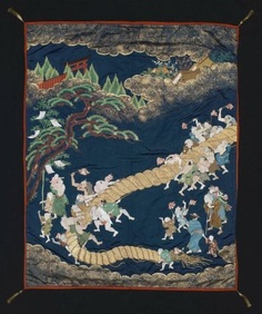 """Gift cover (fukusa)  Japanese, Edo period, 19th century, (35 7/16 x 44 1/8 in.), Silk; satin, embroidered with silk and gold-metallic thread, gold-leaf, Gift cover (fukusa) with design of men (with character for """"happiness"""" on robe) in a tug of war competition as part of a local summer festival in white, green, pink, red, brown and blue silk embroidery and gold paint on a dark blue satin ground. Lined with red silk crepe with gold tassels at the corners. MFA"""