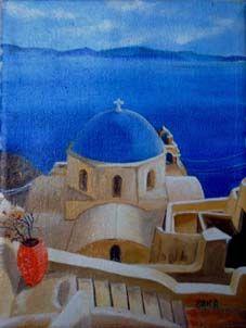 Miniatura Grecia - olio su tela - 2001 (15x20)