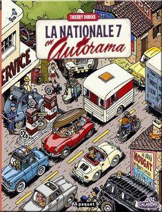 National Route New! National 7 in Autorama - Car Volkswagen, Vw T1, Superman, Batman, Peugeot 203, Beautiful Roads, Ligne Claire, Car Illustration, Vw Cars