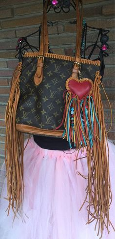 Louis Vuitton authentic upcycled pm bucket bag with long leather fringe! Bag charm included! Ready to ship!