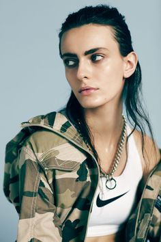 Erjona Ala by Nick Dorey for i-D Magazine - mixing military with sports influence.. done well!