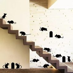 Funny Mouse Wall Sticker Stairs Backdrop Pegatinas De Pared Wall Decals Art Home Decor Kitchen Stickers Poster Mural Stair Stickers, Diy Wall Stickers, Wall Decals, Kitchen Stickers, Rooms Home Decor, Home Decor Kitchen, Home Decor Items, Stairs Background, Cheap Home Decor Stores