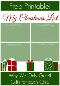Christmas List - Why We Only Get 4 Gifts for Each Child + Freebie    www.GrowingUpTriplets.com #christmas #santa