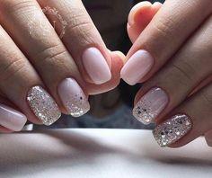 Nageldesign - Nail Art - Nagellack - Nail Polish - Nailart - Nails Nägel How to Make Hair Bows Artic Fun Nails, Pretty Nails, Pale Pink Nails, Pink Sparkle Nails, Pink Manicure, Pink Sparkles, White Nails, Glitter Accent Nails, Shellac Nails Glitter