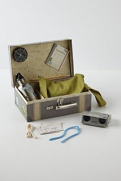 French toymaker Moulin Roty encourages mini-Magellan's with this child¿s exploration kit. Including a compass, magnifying glass, canvas satchel, notebook and pencil, set of collapsible binoculars and guide for tying sailor's knots, it can be forever cherished.