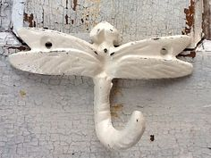 Dragonfly Wall Hook  Cast Iron in Shabby Chic by AlacartCreations, $12.00