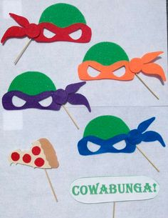 Items similar to Choose Your Own Ninja Turtle TMNT Inspired Photo Booth Props F on Etsy Turtle Birthday Parties, Ninja Turtle Birthday, Ninja Turtle Party, Ninja Turtle Crafts, Ninja Turtle Mask, 4 Ninja Turtles, Ninja Party, Tmnt, Crafts For Kids