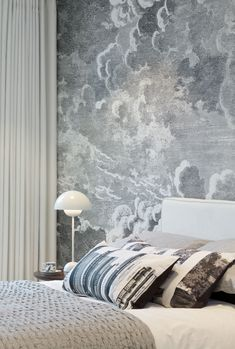 Suna Interior Design - The Filaments -  Bed one with Fornasetti cloud design feature wall  SMALL