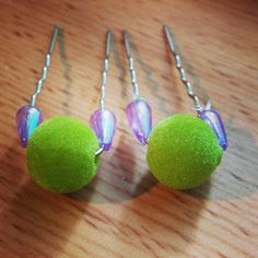 Green Ball Bobby Pins by HMCbyKATE on Etsy