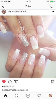 unhas inspiração Elegant Nails, Stylish Nails, Bride Nails, Wedding Nails, Nail Manicure, Gel Nails, Love Nails, Pretty Nails, Diy Acrylic Nails