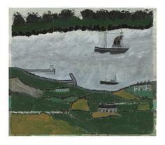 Alfred Wallis (1855-1942) Two steamers in an estuary