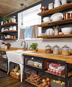 67 Cool Modern Farmhouse Kitchen Sink Decor Ideas - Page 22 of 69 Kitchen Sink Decor, Farmhouse Kitchen Cabinets, Kitchen Cabinet Design, Kitchen Designs, Kitchen Ideas, Open Cabinet Kitchen, Kitchen Storage, Kitchen Shelves, Simple Kitchen Design