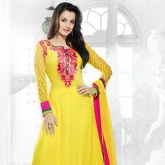 Yellow Faux Georgette Churidar Kameez