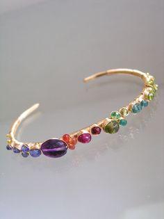 Gemstone Cuff, Wire Wrap Gold Filled Cuff, Colorful Gem Bracelet, Amethyst, Sapphire, Ruby, Artist Made, Original Design, Signature