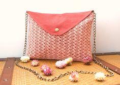 Pink Envelope Clutch with handmade crochet
