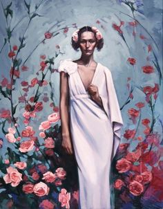 """I need to make more money...  Oil painting portrait woman roses flowers pink art nouveau """"Second to None"""". $4,800.00, via Etsy."""