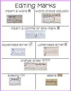 Very simple editing marks.  Some can be used in a conference with a student.