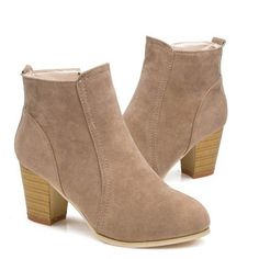short cylinder Martin Side  zipper  ankle  high heels boots  shoes  https://www.stylishntrendier.com/